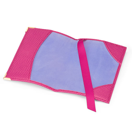 Passport Cover in Raspberry Lizard & Pale Blue Suede from Aspinal of London