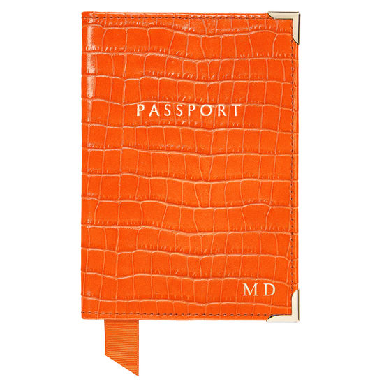 Passport Cover in Deep Shine Amber Small Croc from Aspinal of London