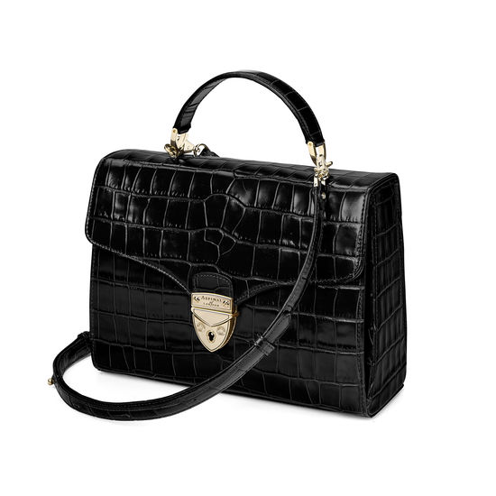 Mayfair Bag in Deep Shine Black Croc with Stripe Strap from Aspinal of London