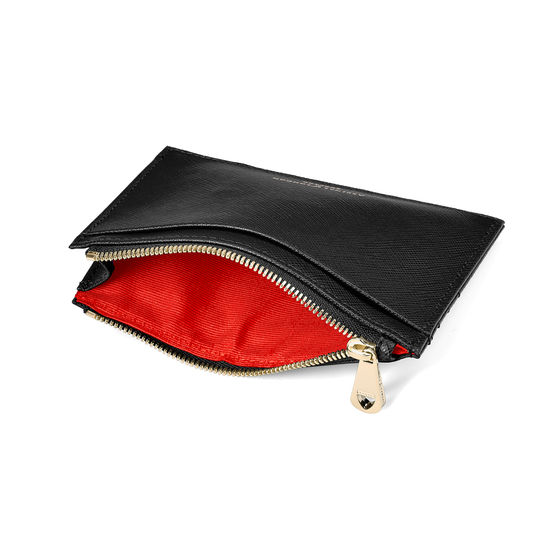Double Sided Zipped Card & Coin Holder in Black Saffiano from Aspinal of London