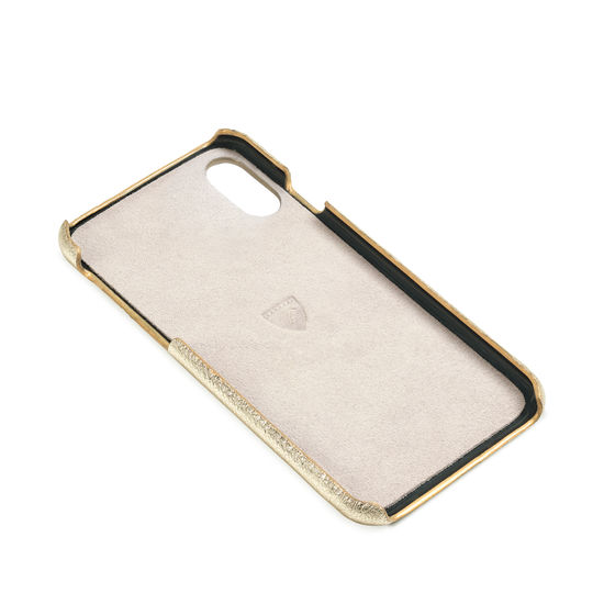 iPhone X Leather Cover in Pale Gold Pebble from Aspinal of London