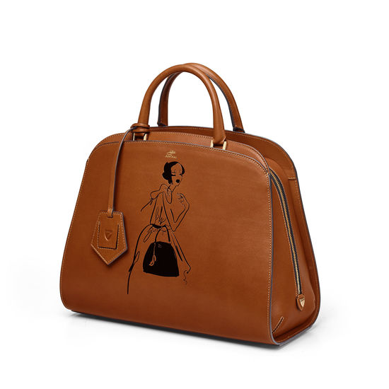 Giles x Aspinal (Mini Hepburn Bag - Smooth Tan) from Aspinal of London