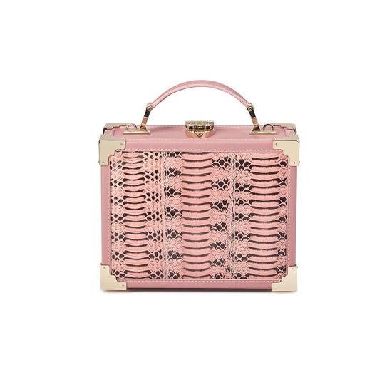 Mini Trunk Clutch in Dusky Pink Water Snake from Aspinal of London