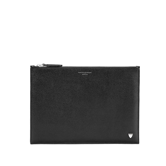 Mount Street Flat Pouch in Black Saffiano from Aspinal of London