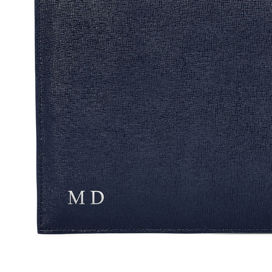 Mount Street Flat Pouch in Navy Saffiano from Aspinal of London