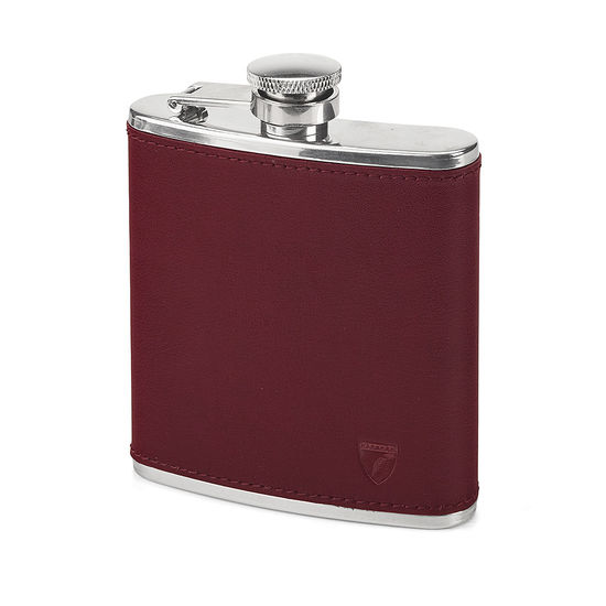 Classic 5oz Leather Hip Flask in Smooth Burgundy from Aspinal of London