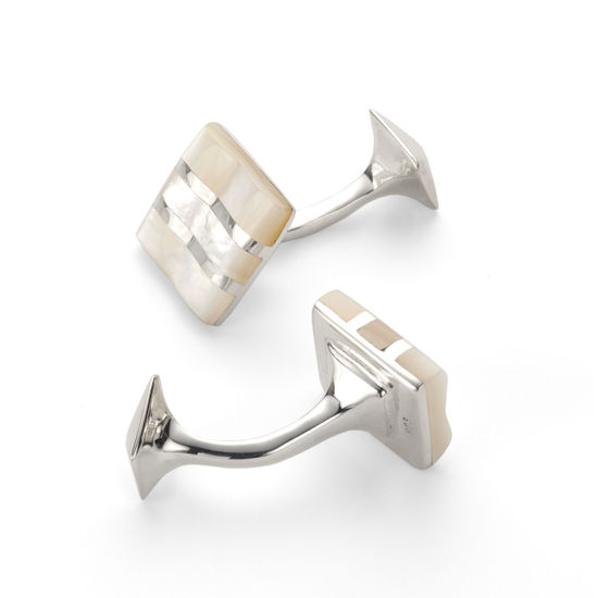 Wave Sterling Silver & Mother of Pearl Cufflinks from Aspinal of London