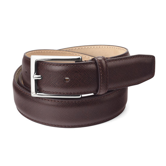Men's Borough Belt in Brown Saffiano from Aspinal of London