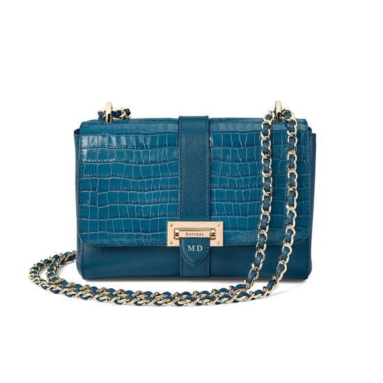 Lottie Bag in Deep Shine Topaz Croc from Aspinal of London