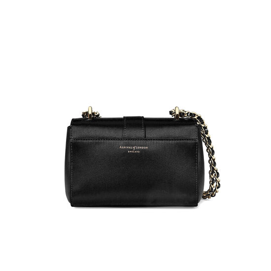 Micro Lottie Bag in Black Satin from Aspinal of London