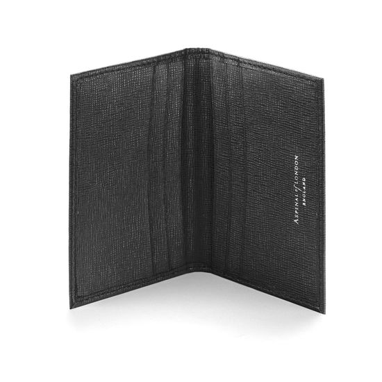Double Fold Credit Card Case in Black Saffiano from Aspinal of London