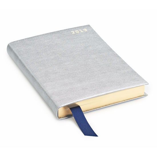 A5 Day to Page Leather Diary in Silver Saffiano from Aspinal of London