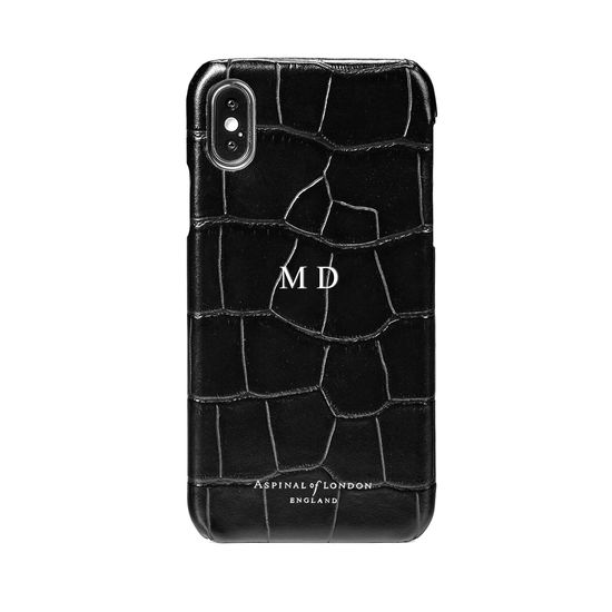 iPhone X Leather Cover in Deep Shine Black Croc from Aspinal of London