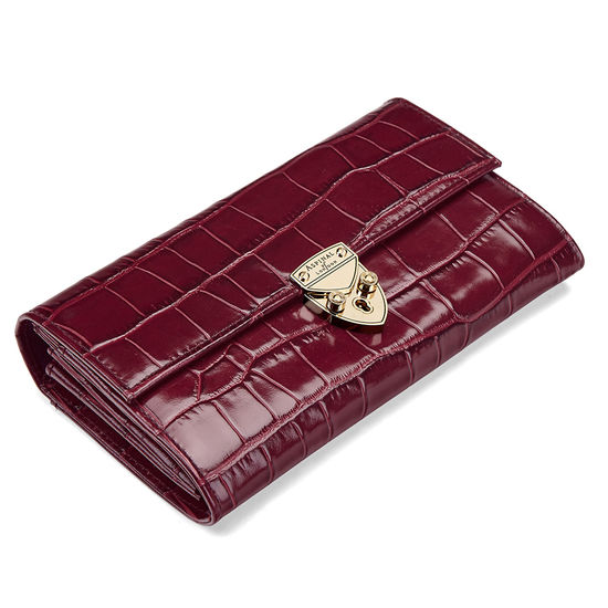 Mayfair Purse in Deep Shine Bordeaux Croc from Aspinal of London