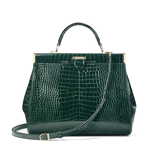 Large Florence Frame Bag in Evergreen Patent Croc from Aspinal of London