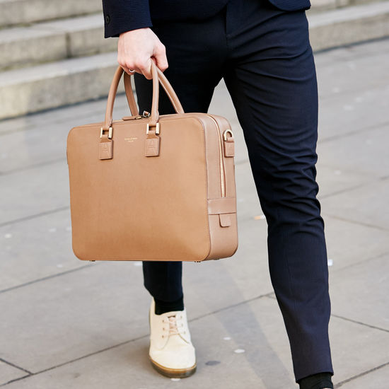 Small Mount Street Laptop Bag in Moss Green Pebble from Aspinal of London