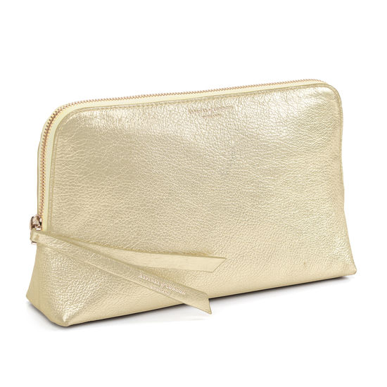 Large Essential Cosmetic Case in Pale Gold Pebble from Aspinal of London
