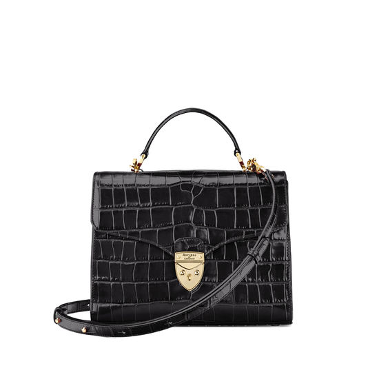 Mayfair Bag in Deep Shine Black Croc from Aspinal of London