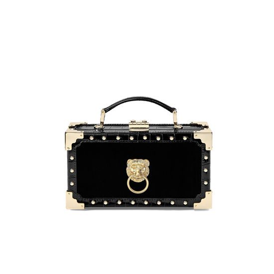 Lion Trinket Box in Black Velvet & Deep Shine Croc with Studs from Aspinal of London