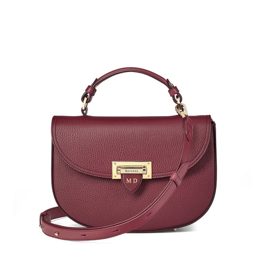 Letterbox Saddle Bag in Bordeaux Pebble from Aspinal of London