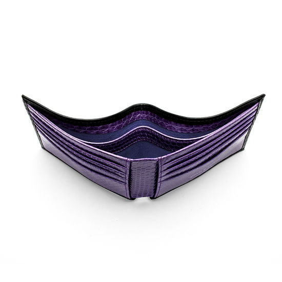 8 Card Billfold Wallet in Smooth Black with Violet Snake from Aspinal of London