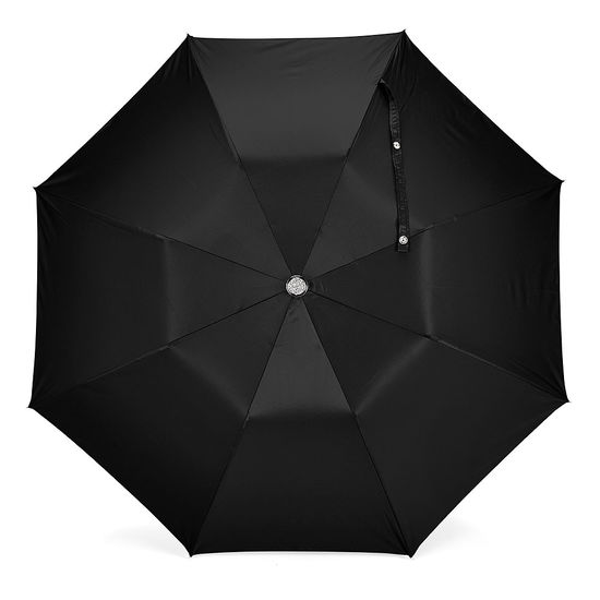 Compact Automatic Umbrella with Maple Wood Handle in Black from Aspinal of London