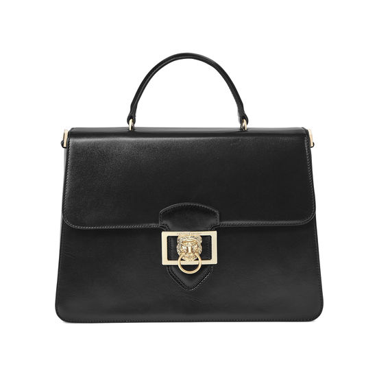 Large Lion Lansdowne Bag in Smooth Black from Aspinal of London