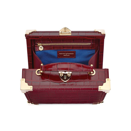 Mini Trunk Clutch in Deep Shine Bordeaux Croc from Aspinal of London