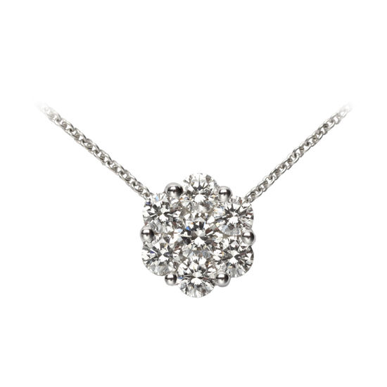 Monaco 1ct. Diamond Cluster Pendant Necklace from Aspinal of London