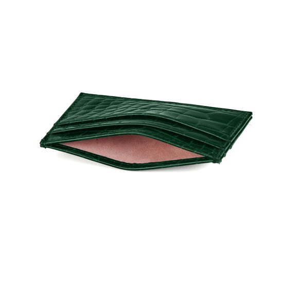 Slim Credit Card Case in Evergreen Patent Croc from Aspinal of London