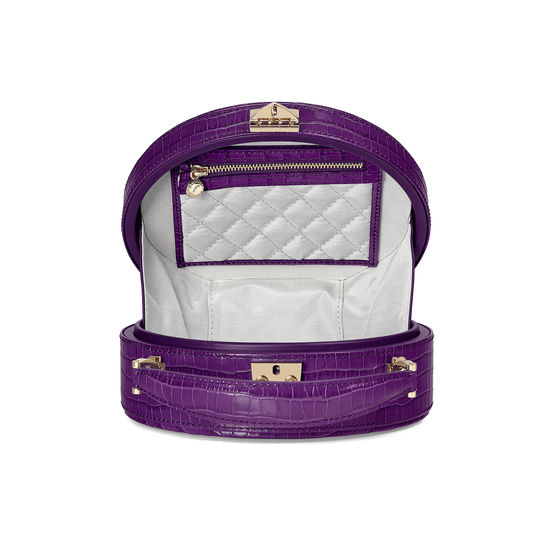 Hat Box in Deep Shine Amethyst Small Croc from Aspinal of London