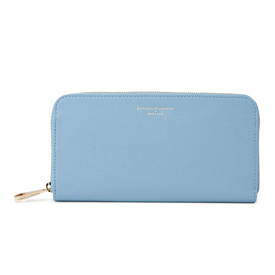 Continental Clutch Zip Wallet in Bluebird Saffiano from Aspinal of London