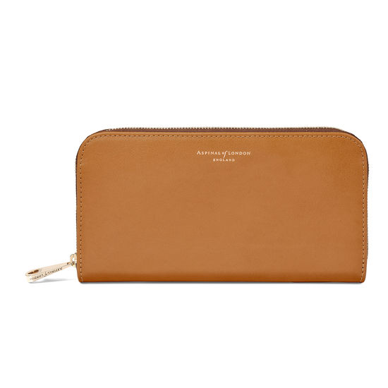 Continental Clutch Zip Wallet in Smooth Tan from Aspinal of London