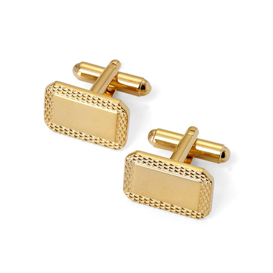 Gold Plated Engraved Edge Rectangular Cufflinks from Aspinal of London