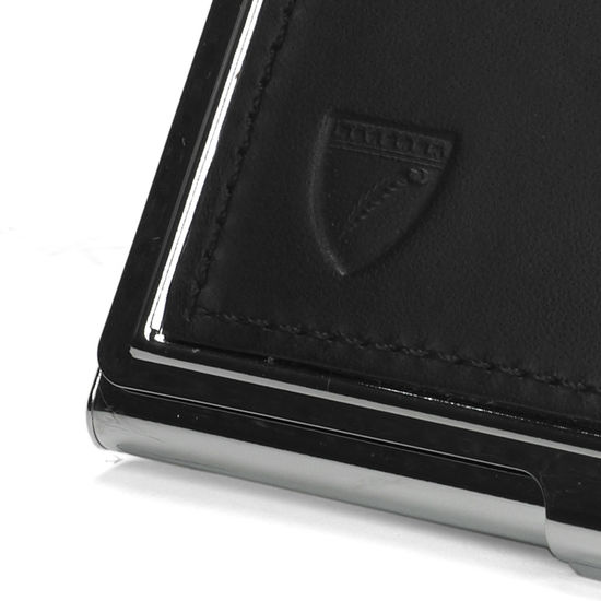 Stainless Steel Business Card Holder in Smooth Black from Aspinal of London