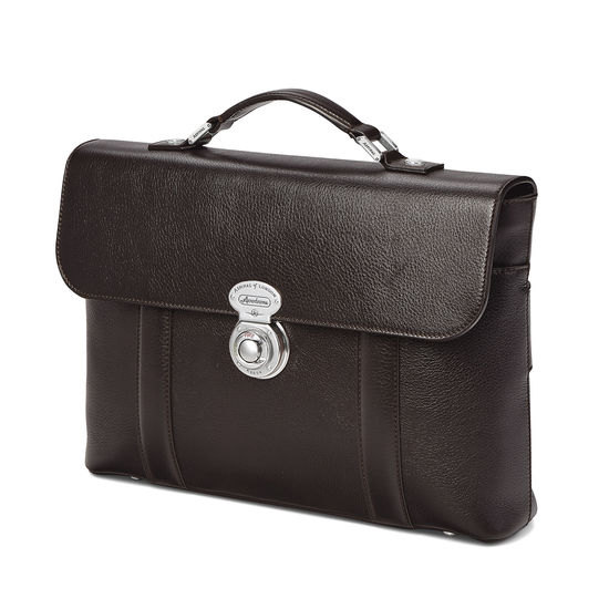 Aerodrome Briefcase in Dark Brown Pebble from Aspinal of London
