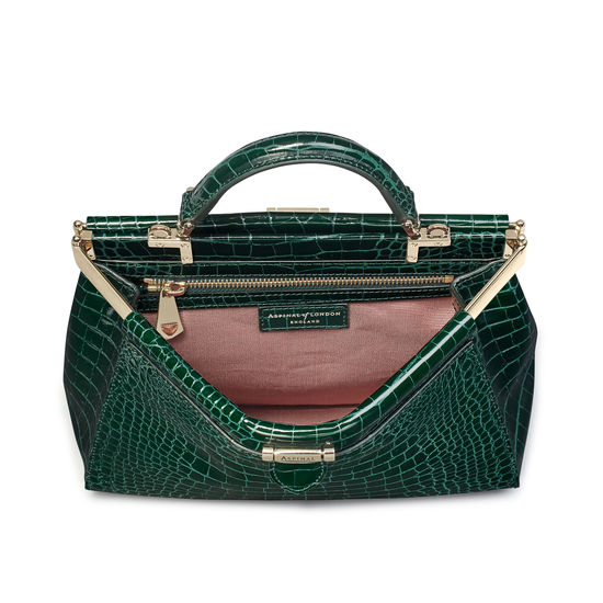 Small Florence Frame Bag in Evergreen Patent Croc from Aspinal of London