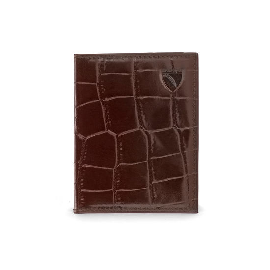 ID & Travel Card Case in Deep Shine Amazon Brown Croc & Stone Suede from Aspinal of London