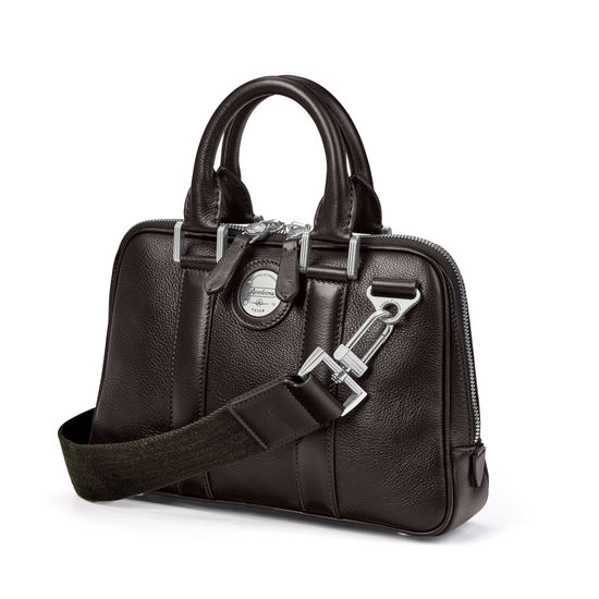 Aerodrome Mini Mission Bag in Dark Brown Pebble from Aspinal of London
