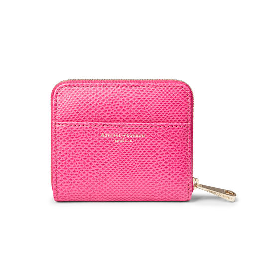 Slim Mini Continental Purse in Raspberry Lizard from Aspinal of London