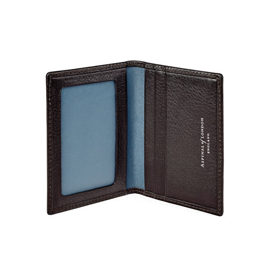 Aerodrome ID & Travel Card Case in Dark Brown Pebble from Aspinal of London