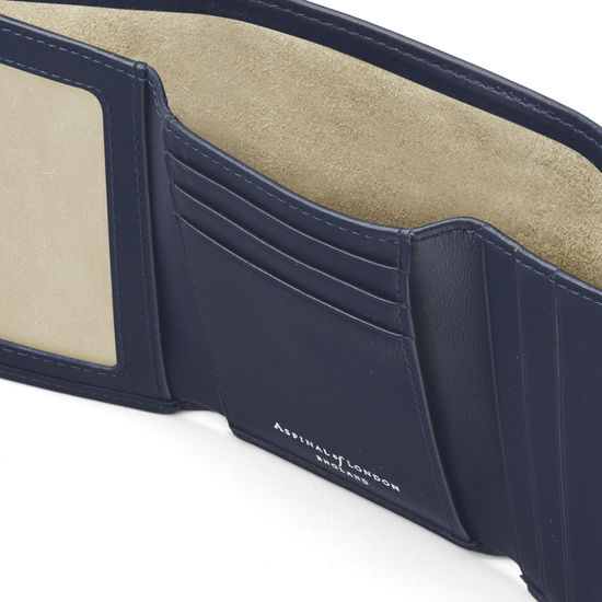 Trifold Wallet in Smooth Navy from Aspinal of London