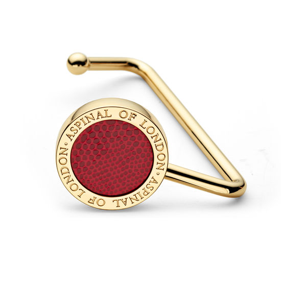 Aspinal Handbag Hook in Berry Lizard from Aspinal of London