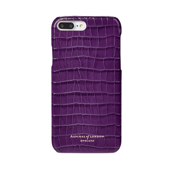 iPhone 7 Plus Leather Cover in Deep Shine Amethyst Small Croc from Aspinal of London