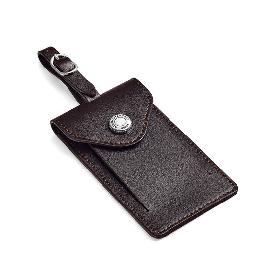 Aerodrome Luggage Tag in Dark Brown Pebble from Aspinal of London