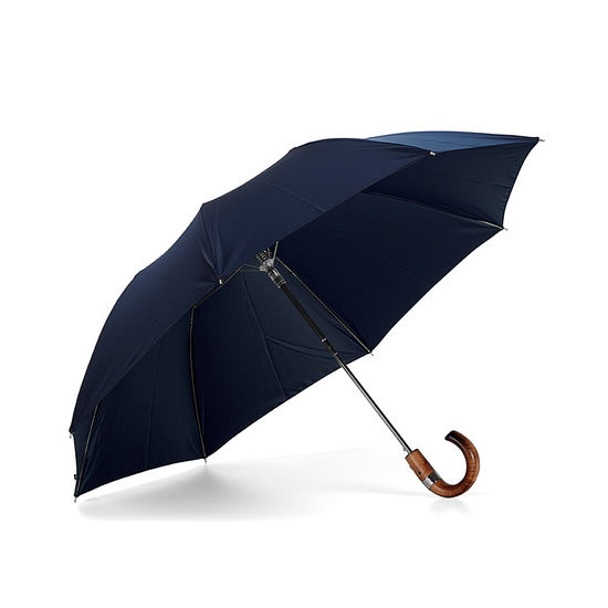 Compact Automatic Umbrella with Maple Wood Handle in Navy Blue from Aspinal of London