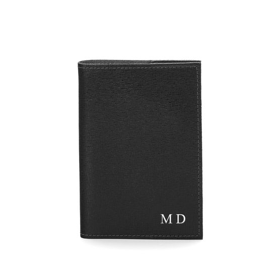 Refillable Pocket Notebook in Black Saffiano from Aspinal of London