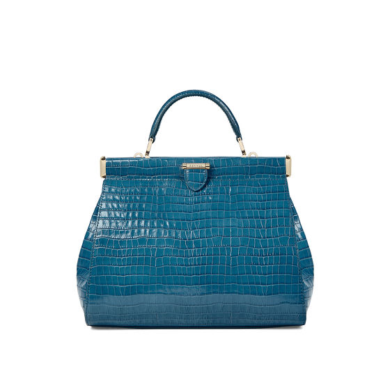 Small Florence Frame Bag in Deep Shine Topaz Small Croc from Aspinal of London