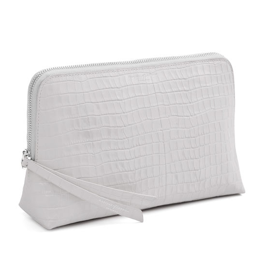 Large Essential Cosmetic Case in Deep Shine Dove Grey Small Croc from Aspinal of London
