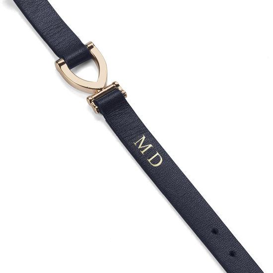 Stirrup Bracelet in Smooth Navy from Aspinal of London